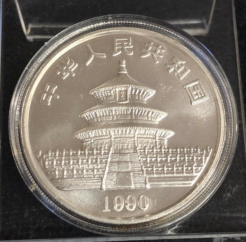 1990 China 1oz 999 Silver Panda 10 Yuan Uncirculated Coin NH