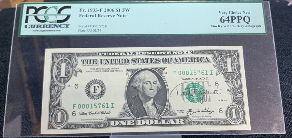 2006 $1 Note Signed By Tim Kyzivat Graded By PCGS 64, Low Serial # AH