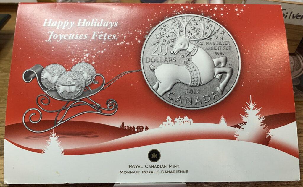 2012 Happy Holidays $20 Silver .9999 Raindeer Coins Royal Canadian Mint