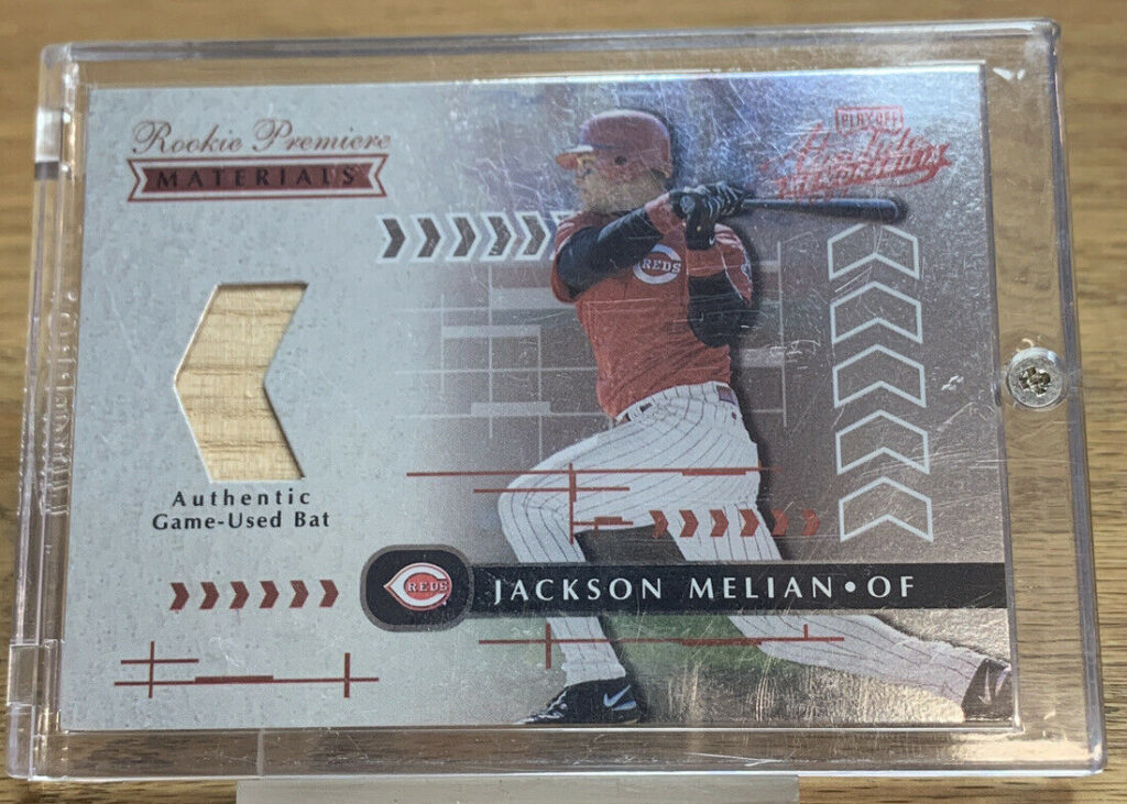 2001 Rookie Playoff Absolute Game Used Bat Card Jackson Melian AH #644 Cin. Reds