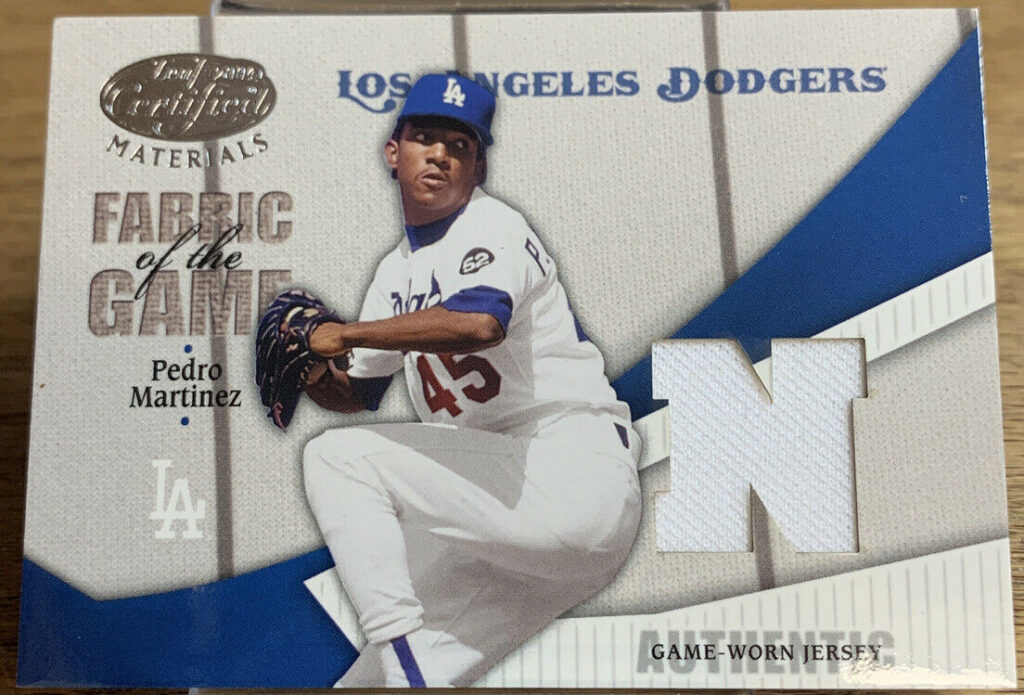 2004 LEAF CERTIFIED #FG-184 PEDRO MARTINEZ JERSEY LOS ANGELES DODGERS 88/100 AH
