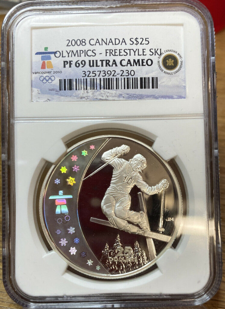 2008 Canada S$25 Olympics Vancouver PF69 Ultra Cameo NGC FREESTYLE SKIING 230