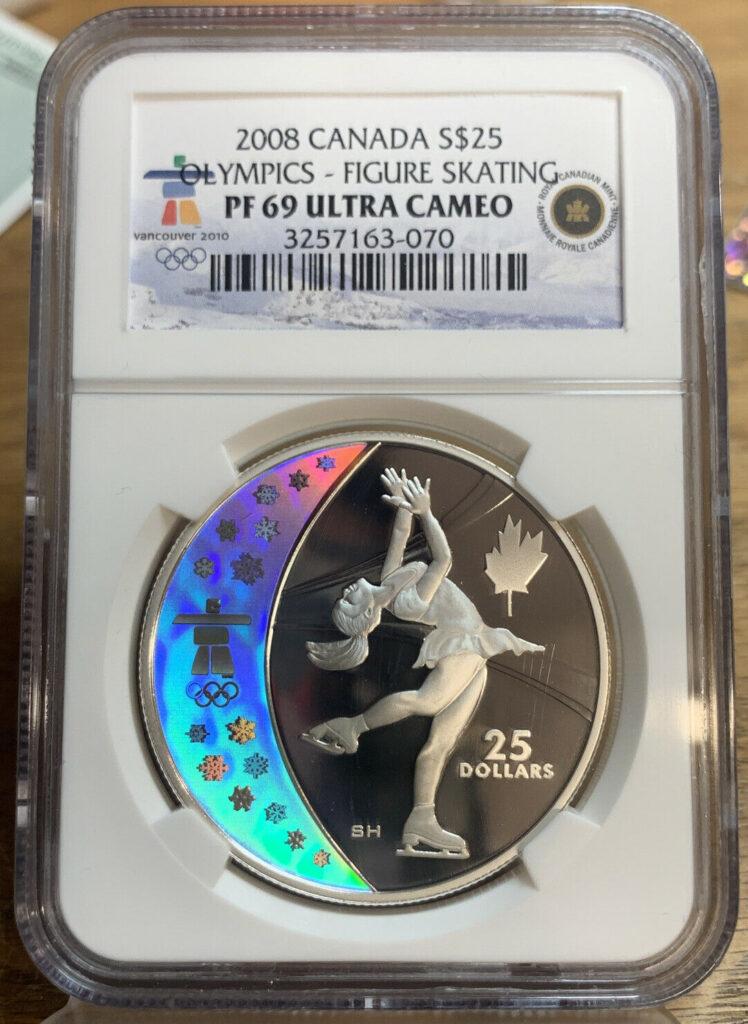 2008 Canada Silver $25 Coin Olympics - Figure Skating PF 69 Ultra Cameo 70