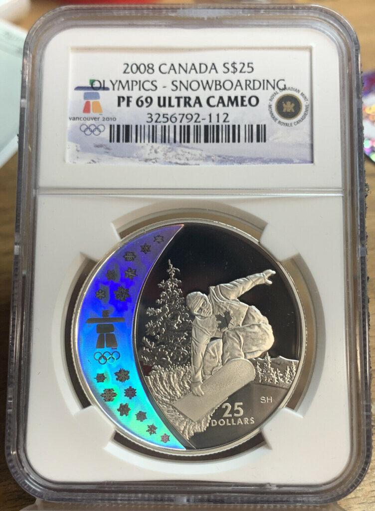 2008 Canada Silver $25 Coin Olympics - Snowboarding PF 69 Ultra Cameo 112