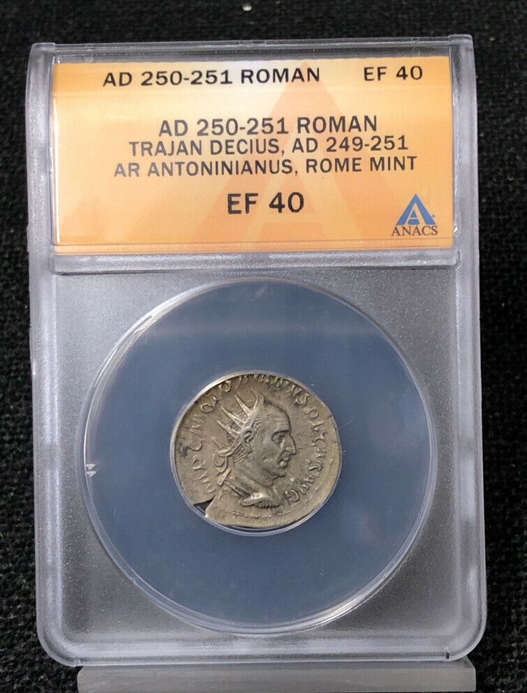 AD 250-251 ANACS EF40 Roman Trajan Decius Rome Mint AR Antoninianus NH602