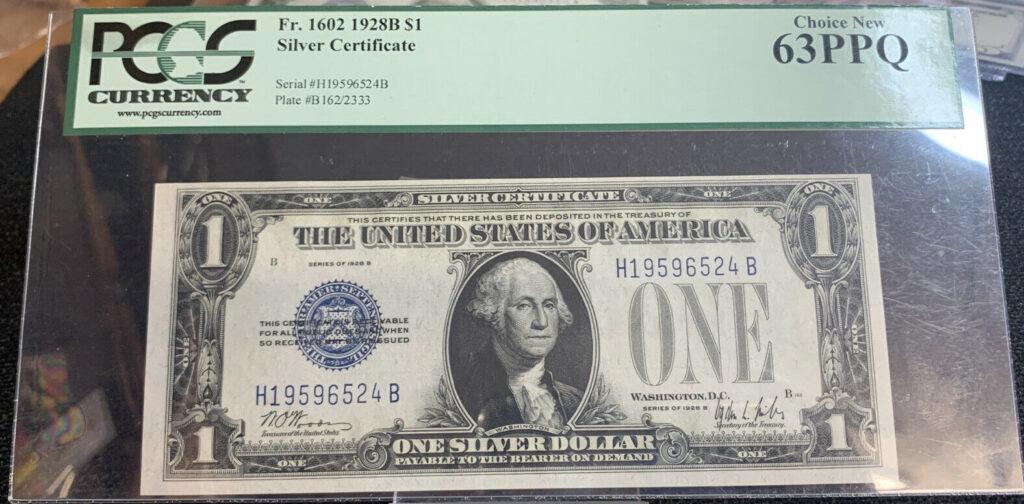 Fr. 1602 1928B $1 Silver Certificate PCGS Choice New 63PPQ AH