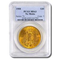 1908-$20-Saint-Gaudens-Gold-No-Motto